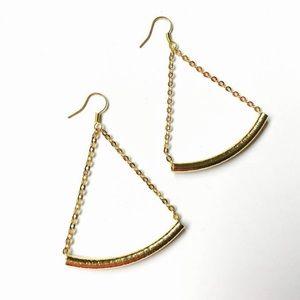 Triangle Gold Bar Chain Dangle Drop Earrings